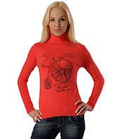 Женский свитер с велосипедом коралловый, фото 1