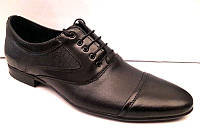 Мужские кожаные туфли чёрные классические Uk0421