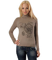 Женский свитер с велосипедом бежевый, фото 1