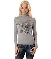 Женский свитер с велосипедом серый