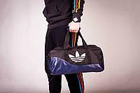 Сумка спортивная, для тренировок, дорожная, через плечо, Adidas мужская черный+синий