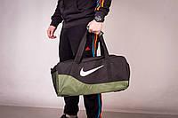 Сумка спортивная, для тренировок, дорожная, через плечо, Nike мужская черный+болотный