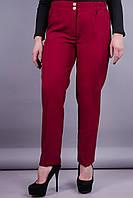 Элия. Классические брюки женские супер сайз. Бордо.