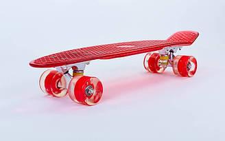 Скейтборд пластиковый Penny TRANSPARENT 22in прозрачная дека со светящимися колесами