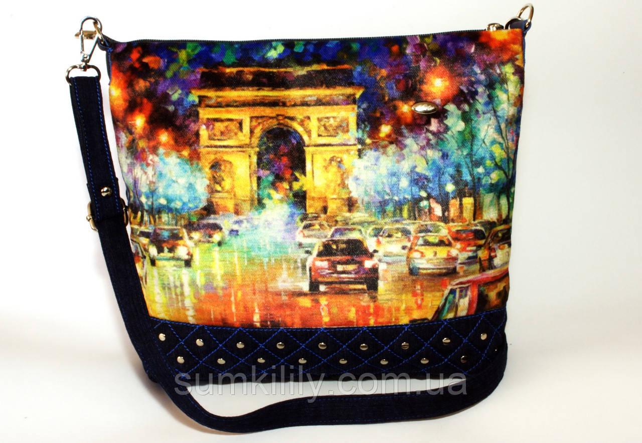 Джинсовая стеганная сумочка Париж арка