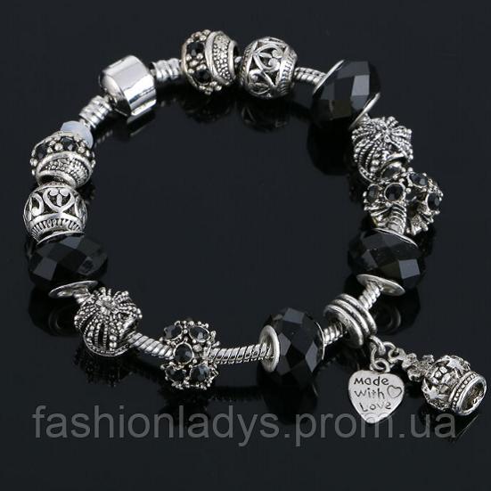 Женский браслет в стиле Pandora Black (пандора)