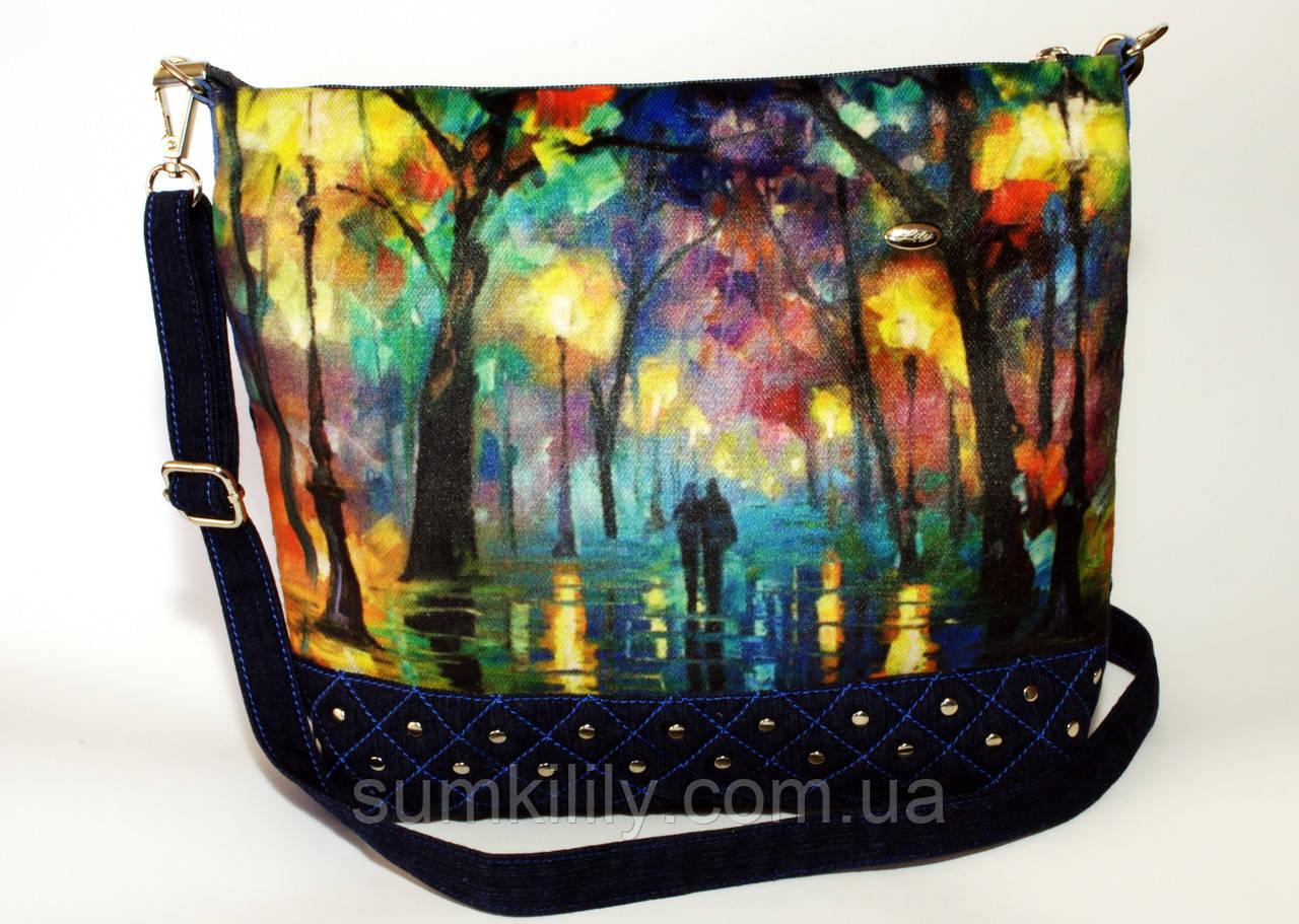 Джинсовая стеганная сумочка Одесса