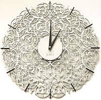 """Дизайнерские настенные часы """"Икониум"""" (33 см) серебристые [МДФ, Открытые]"""