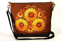 Женская джинсовая стеганная сумочка Желтые на коричневом