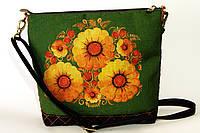 Женская джинсовая стеганная сумочка Желтые на зеленом