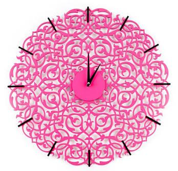 """Дизайнерские настенные часы """"Икониум"""" (33 см) розовые [МДФ, Открытые]"""