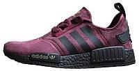 Женские кроссовки Adidas NMD Runner Suede Dark Red (адидас нмд) бордовые