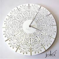 """Дизайнерские настенные часы """"Кубена""""(33 см) белые [Акрил, Зеркало, Открытые]"""