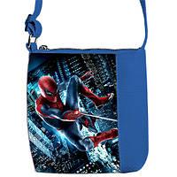Синяя сумка для мальчика Little prince с принтом Человек Паук
