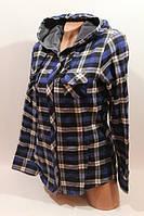 Байковая женская рубашка в клетку с капюшоном, Турция