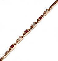 Браслет ХР, позолота с красным оттенком.Камни: белый и малиновый циркон. Длинна 17 -21 см. Ширина 3 мм.