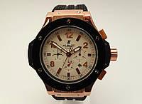 Механические часы HUBLOT - GENEVE  с автозаводом, каучуковый черный ремешок, цвет золото