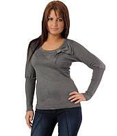 Свитер женский бант с гипюровой спиной  серый, фото 1