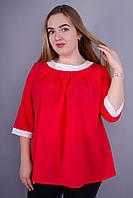 Рената. Стильная блуза супер батал. Красный. 60