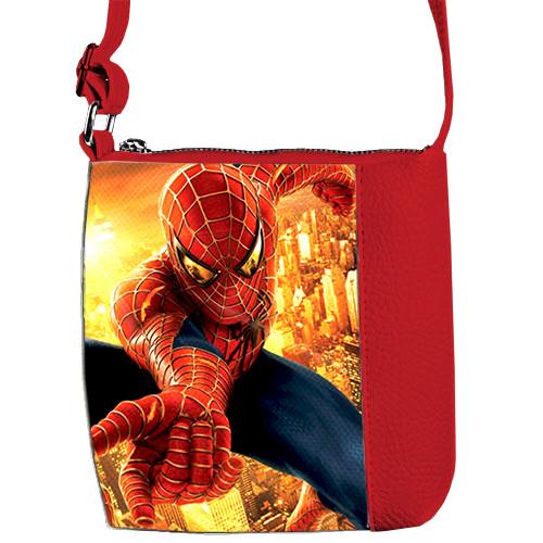 Красная сумочка для мальчика с принтом Человек паук
