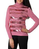 Свитер женский в полоску с паетками розовый