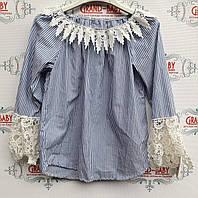 Блузка стильная   для девочки в полоску  .Италия