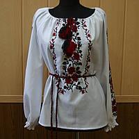 Жіноча вишиванка довгий рукав з поясом Олена