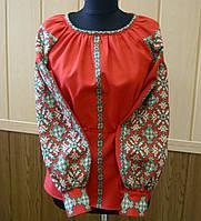 Жіноча вишиванка червона Оксана принт