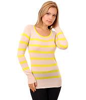 Свитер женский полоска бант  желтый, фото 1