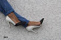 Туфли лаковые бело-черные на шпильке 283