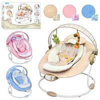 Детское музыкальное кресло-качалка, шезлонг Bambi 60683
