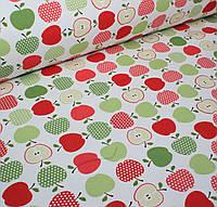 Футер красочные яблоки на айвори (цифровая печать) №0054