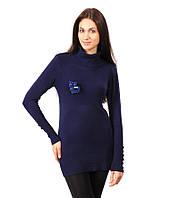 Свитер женский хомут с котиком синиий