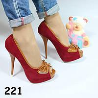 Туфли женские замшевые красные 221