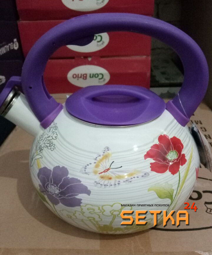 Чайник эмалированный со свистком Bohmann BH 8140 3,5л цветной