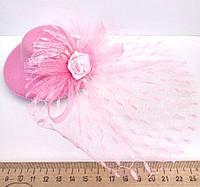 Женская шляпка заколка с вуалью розовая