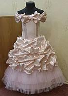 Блестящее детское платье из парчи-хамелеон пыльно-розового цвета на 6-8 лет