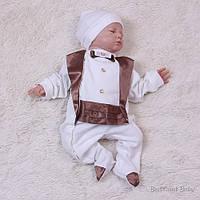 "Святковий комплект для новонароджених ""Фрак"" шоколад, 50, 56, 62 р,, фото 1"