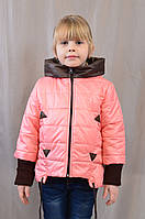 Короткая модная детская весенне-осенняя куртка на девочку, р.116,122,128,134,140.