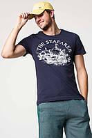 Мужская футболка De Facto темно-синего цвета с надписью The seafarer