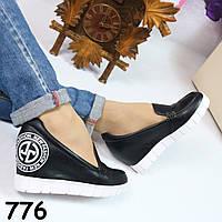 Туфли черные на танкетке 776