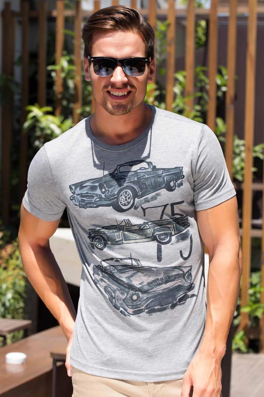 Мужская футболка De Facto светло-серого цвета с машинами на груди, фото 1