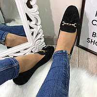 Черные туфельки с кисточками,женские туфли весенние без каблука
