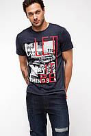 Мужская футболка De Facto темно-серого цвета с картинкой на груди Let it be