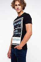 Мужская футболка De Facto черного цвета с картинкой и надписью на груди