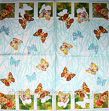 Салфетки декупажные Бабочки на голубом фоне 2353