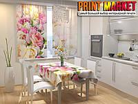 Фотошторы для кухни бело-розовые  розы