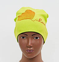 Желтая шапочка из хлопка на малышку