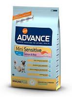 Advance Mini Sensitive корм для взрослых собак мини пород, склонных к пищевой аллергии 7,5кг