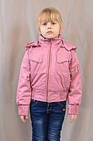 Короткая детская весенняя куртка на флисе для девочки, р.122,128,134,140,146.